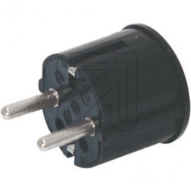 Winkel Stecker schwarz Thermoplast schlagfest mit Zugentlastung, 250V / 16A, VDE