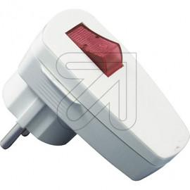 Winkelstecker abschaltbar rot beleuchtet weiß Thermoplast, mit Schalter,