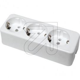 Tischsteckdose  3 fach weiß ohne Anschlußleitung, Thermoplast bruchfest