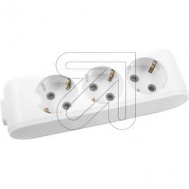 Tischsteckdose  3 fach weiß ohne Anschlußleitung, geschraubt, mit Kabeleinführung