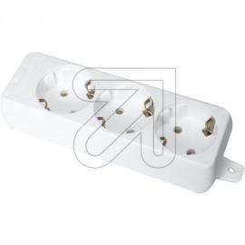 Tischsteckdose  3 fach weiß ohne Anschlußleitung Zugentlastung Befestigungsöse