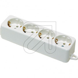 Tischsteckdose  4 fach 1 reihig weiß ohne Anschlußleitung, Thermoplast