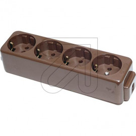 Tischsteckdose  4 fach 1 reihig braun ohne Anschlußleitung, Thermoplast