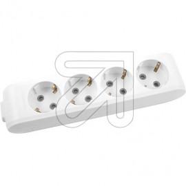 Steckdosenleiste  4 fach weiß ohne Anschlußleitung, geschraubt,  Kabeleinführung,