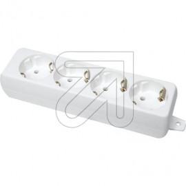 Steckdosenleiste  4 fach weiß ohne Anschlußleitung, Thermoplast, mit Bodenplatte