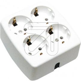 Steckdosenleiste  4 fach quadrat. weiß ohne Anschlußleitung, bruchfest Thermoplast