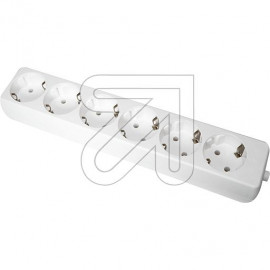 Steckdosenleiste  6 fach weiß ohne Anschlußleitung, Thermoplast mit Bodenplatte