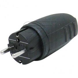 Gummi Stecker 250V / 16A schwarz, Zugentlastung spritzwassergeschützt IP44