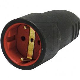 Gummi Kupplung 250V / 16A schwarz, Zugentlastung tropfwassergeschützt IP20