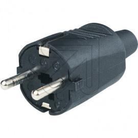 Mini Flex Stecker mit EAN Code 250V / 16A schwarz Gummitülle und Zugentlastung