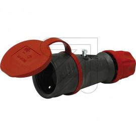 Gummi Kupplung mit Deckel IP44 250V/16A schwarz für erschwerte Bedingungen