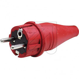 ABL Gummi Stecker IP44 250V / 16A rot mit Zugentlastung