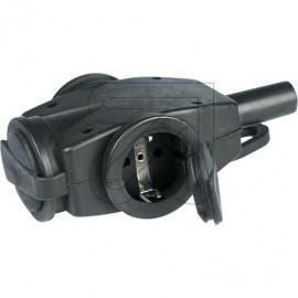 ABL 250V / 16A schwarz Drei Wege Hängekupplung Vollgummi mit Wulsträndern