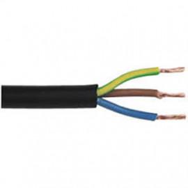 50 Meter Rundleitung, 3G x 1²mm H05 VV-F, schwarz, inkl. CU