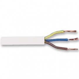 50 Meter Rundleitung, 3G x 1²mm H05 VV-F, weiß, inkl. CU