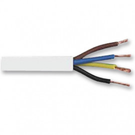 10 Meter Rundleitung, 4G x 0,75²mm H03 VV-F, weiß, inkl. CU