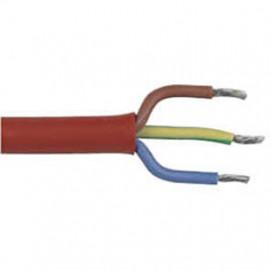 Silikonkabel, (Meterware) 3G x 1,5²mm SiHF, rot/braun, inkl. CU