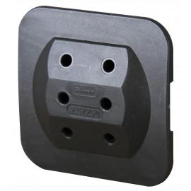 Mehrfachstecker Schutzkontaktstecker Adapter, superflach, schwarz