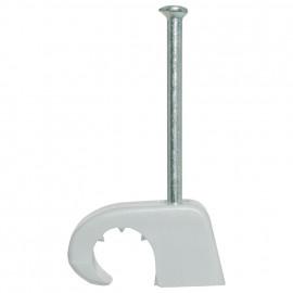 100 Stück Haftclips mit Stahlnagel, für Kabel-Ø 4-7 mm, Nagel-L 20 mm