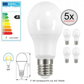 5 x E27 LED Birnenlampe Warmweiß 7 W entspricht 42 Watt