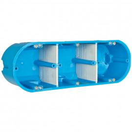 Mehrfachhohlwanddose, 3-fach halogenfrei blau mit variablen Trennwänden - F-tronic