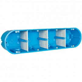 Mehrfachhohlwanddose, 4 fach halogenfrei blau mit variablen Trennwänden - F-tronic