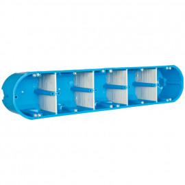 Mehrfachhohlwanddose, 5 fach halogenfrei blau mit variablen Trennwänden - F-tronic