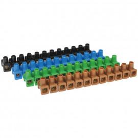 10 Stück Set Lüsterklemme, Kunststoff, 12-polig, 4 bis 6 mm², einseitig geschlossen