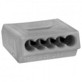 10 Stück Steckklemme, 5-polig, für Leiter bis 1,5², grau - Wago