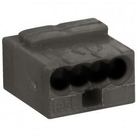 10 Stück Micro Steckklemme, 4-polig, für Leiter von 0,6 bis 0,8²mm, grau - Wago