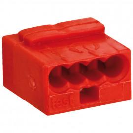 10 Stück Micro Steckklemme, 4-polig, für Leiter von 0,6 bis 0,8²mm, rot - Wago