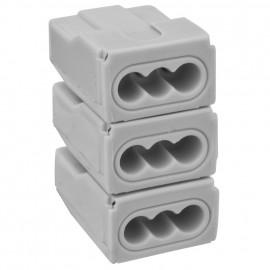 100 Stück Steckklemme, 3 x 3-polig, für Leiter von 0,5² bis 4²mm, grau