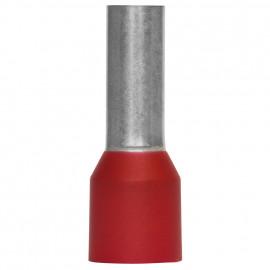100 Stück Aderendhülse mit Isolierstoffkragen, für 1 Eingang Ø 10²mm Länge 22 mm rot