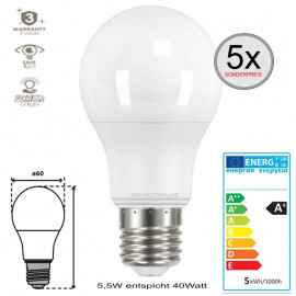 5 x E27 LED SMD Birnenlampe Coolweiß 5,5W entspricht 40Watt