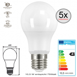 5 x E27 LED SMD Birnenlampe Coolweiß 10,5 W entspricht 75 Watt