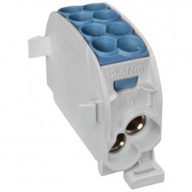 Hauptleitungs Abzweigklemme, 1-polig, 2 Eingänge 25 mm² und 2 Ausgänge 16 mm² blau