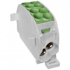 Hauptleitungs Abzweigklemme, 1-polig, 2 Eingänge 25 mm² und 2 Ausgänge 16 mm² grün