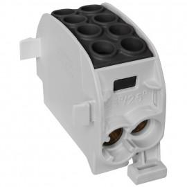 Unterverteiler Abzweigklemme, 1-polig, 2 Eingänge 35 mm²  2 Ausgänge 25 mm² schwarz