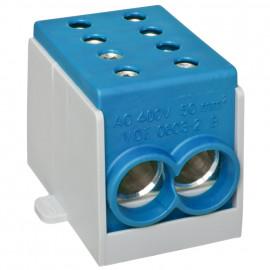 Hauptleitungs Abzweigklemme, 1-polig, 2 Eingänge 50 mm² und 2 Ausgänge 50 mm² blau