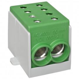 Hauptleitungs Abzweigklemme, 1-polig, 2 Eingänge 50 mm² und 2 Ausgänge 50 mm² grün