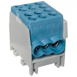 Hauptleitungs Abzweigklemme 1 p. 2 Eingänge 25 mm² 4 Ausgänge 16 mm² blau verzinnt