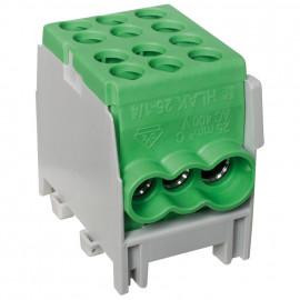 Hauptleitungs Abzweigklemme 1 p. 2 Eingänge 25 mm² 4 Ausgänge 16 mm² grün verzinnt