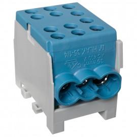 Hauptleitungs Abzweigklemme 1 p. 2 Eingänge 35 mm² und 4 Ausgänge 25 mm² blau verzinnt