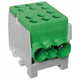 Hauptleitungs Abzweigklemme 1 p. 2 Eingänge 35 mm² und 4 Ausgänge 25 mm² grün verzinnt