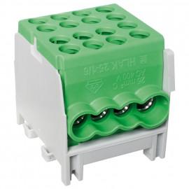 Hauptleitungs Abzweigklemme 1 p.2 Eingänge 25 mm² und 6 Ausgänge 16 mm² grün verzinnt