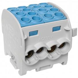 Hauptleitungs  Abzweigklemme, DOPPELBLOCK, 4 Eing. 35 mm²  4 Ausg. 25 mm² blau