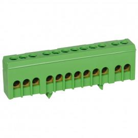 Neutralleiter Klemme für Normschiene, grün 16 mm² Anschluß 12-polig - Pollmann