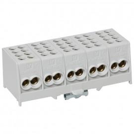 Hauptleitungs Abzweigklemme grau Block 2 Eingänge 25 mm² - 2 Ausgänge 16 mm², 5-polig