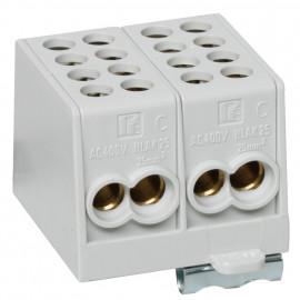 Hauptleitungs Abzweigklemme grau Block 2 Eingänge 25 mm² - 2 Ausgänge 16 mm², 2-polig