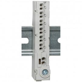Abzweigklemme für Normschiene, 12-polig grau,  mit Stekklemmen - Pollmann